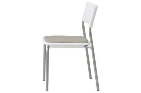 会議椅子 ホワイトシェル 肘なし 固定脚 MC-141W スタッキング椅子